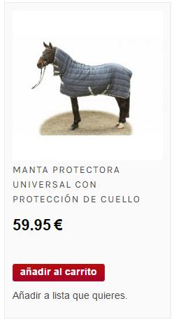 manta con cuello para caballo protectora