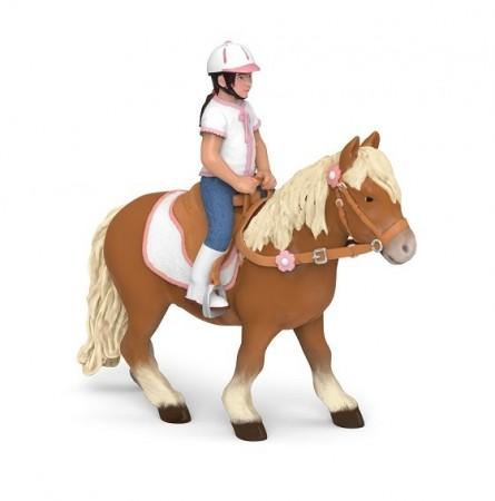 Pony Shetland con silla de montar (sin jinete)