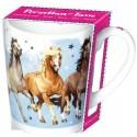 Taza de porcelana nube caballos